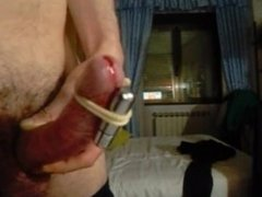 Bullet vibrator makes my cock throb and cum hands free
