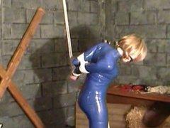 Bleu dress and ball gagged