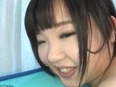 Young japanese does a threesome and squirt.