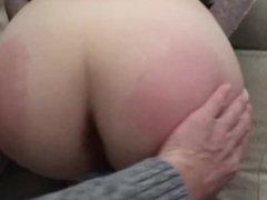 Spanking cummed on ass of my sub Daisy