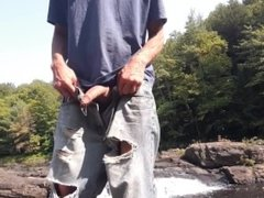 Edging standing on a rock at the sight of everyone in my wank's jeans #3