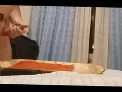 Cumshot on bed, shooting a big load (normal and slow motion)