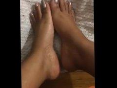 silver long toenails foot tease
