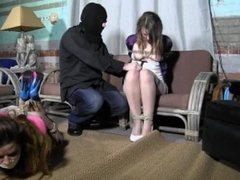 slutty sisters bound by a masked man
