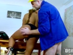 Mature latina working girl fucked by her worker