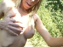 blonde get fucked in her ass outdoors
