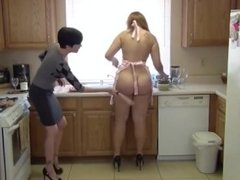 CHUBBY GIRL SPANKED IN THE KITCHEN!!