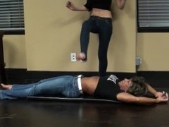 F/F Stomach Trampling...Young Girl On Mature Woman Fitness Pro