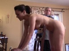 Naked girl gets a quick caning