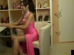 Hot slut fucked in her dress before going out on date