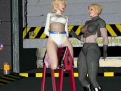 Pretty Blonde overpowered and humiliated by two muscular women. No sound