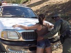 Sexy Latina babe fucked outdoor by the black officer with huge cock