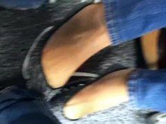 ped socks tease under table