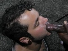 Sucking black cock for facial