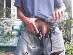 Pissing and water my cock & my fucking horny jeans with my piss #1