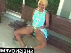 Ebony Blonde Girl Fucks White Man In Middle Of Street Blowjob & Public Sex