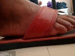 Aunt Ruth #2-Ebony Feet candid extreme close up