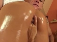 Who is she? What's her name? Hot blonde gets oiled, fingered & gives assjob