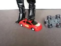 Black High Heeled Boots Crushing Two Toy Cars pt. 1