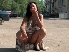 Public Disorder as two babes flash outside