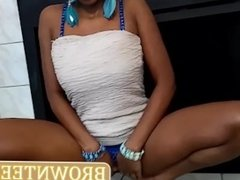 Black Ebony Teen In White Dress Squirt Pussy In White Skirt Ride BBC Dildo