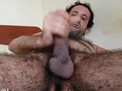 Hairy cock masturbating