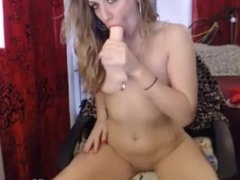 Playful blonde MILF with a-cup tits