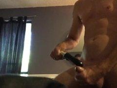 Fucking around with my wife's vibrator nice frenulum orgasm...