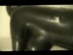 Fuck and blowjob in full cover latex catsuit