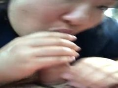 Sloppy Asian blowjob in car with swallow
