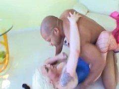 Sexy innocent blonde on black massive dick