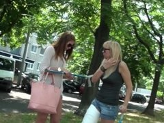02 LLC, Plaster Long Leg Cast, Blonde On Crutches Outside With Friend