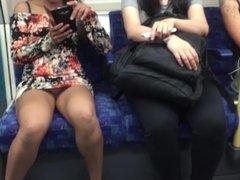 Daring public upskirt flashing on a train in london (ivoyeur)
