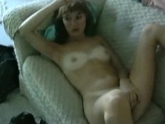 Sexy Shy 90s MILF Shows Off Her Tanlines and Shows Off Her Hairy Pussy