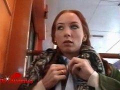 Redhead Babe Interracial Public Train Sex