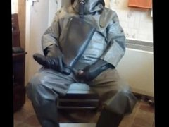 Wanking in a full rubber German NBC suit and cum on a rubber boot.