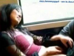 Fingering pussy in train.