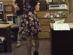 Chubby brunette big tits College Student Banged in my pawn shop!