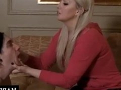 Mistress makes slave lick her feet clean