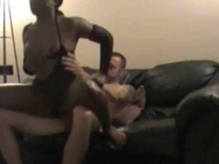 Straight tall white dude pounding black tranny like a whore on couch