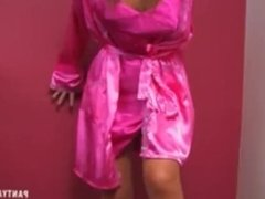 Belle in REALLY HOT pink satin robe and panties! HOT PANTY ASS!