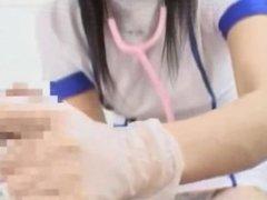 Japanese nurse gloved handjob