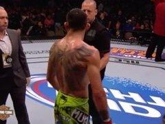Tony Ferguson submits muscle stud Abel Trujillo with a rear naked choke