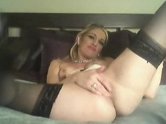 Amateur blonde camgirl wth small tits in stockings cums on webcam