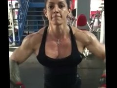 Muscle girl pumping chest 23