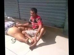 Beggar sucking pussy public