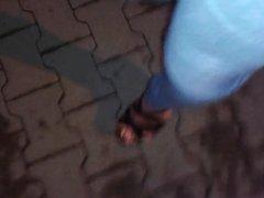 public cumshot and walking in 6inch platform sandals