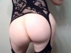 Cute crossdresser shows amazing ass and cums