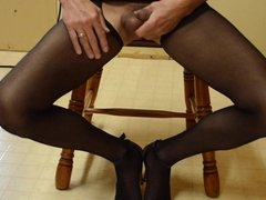 Cock Flash in Crotchless Pantyhose