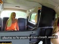 Busty english cabbie pussylicks her passenger